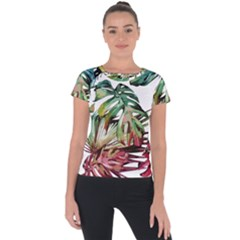 Watercolor Monstera Leaves Short Sleeve Sports Top  by goljakoff
