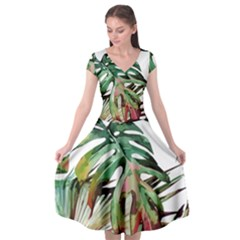 Watercolor Monstera Leaves Cap Sleeve Wrap Front Dress by goljakoff