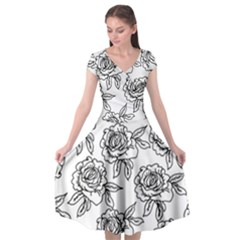 Line Art Black And White Rose Cap Sleeve Wrap Front Dress