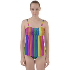 Colorful Spongestrips Twist Front Tankini Set by Sparkle