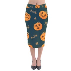 Halloween Velvet Midi Pencil Skirt by Sobalvarro