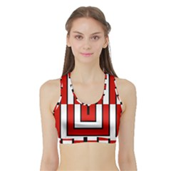 Square Maze Red Sports Bra With Border by tmsartbazaar