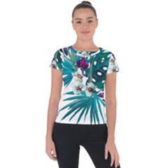 Tropical Flowers Short Sleeve Sports Top  by goljakoff