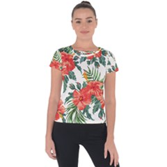 Red Flowers Short Sleeve Sports Top  by goljakoff