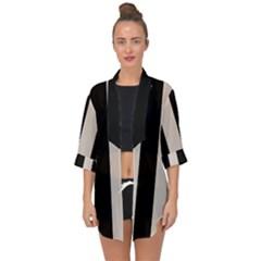 Abalone Grey & Black Open Front Chiffon Kimono