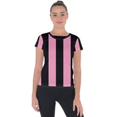Amaranth Pink & Black Short Sleeve Sports Top  by FEMCreations