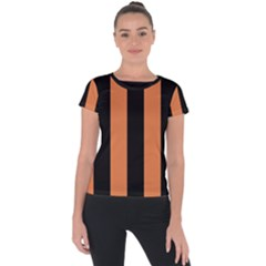 Amber Glow & Black Short Sleeve Sports Top  by FEMCreations