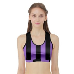 Amethyst Purple & Black Sports Bra With Border