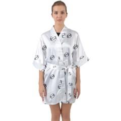 American Football Ball Motif Print Pattern Half Sleeve Satin Kimono