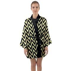 Chevron Style Collection - Banana Yellow & Black Long Sleeve Satin Kimono