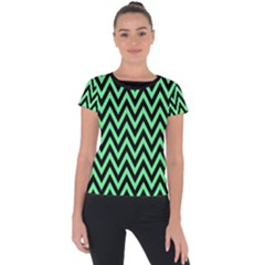 Chevron Style Collection - Dragon Green & Black Short Sleeve Sports Top  by FEMCreations