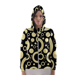 Circle Party Collection - Banana Yellow & Black Women s Hooded Windbreaker
