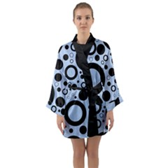 Circle Party Collection - Angel Blue & Black Long Sleeve Satin Kimono