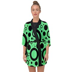 Circle Party Collection - Dragon Green & Black Half Sleeve Chiffon Kimono