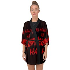 Demonic Laugh, Spooky Red Teeth Monster In Dark, Horror Theme Half Sleeve Chiffon Kimono