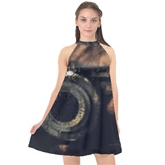 Creative Undercover Selfie Halter Neckline Chiffon Dress  by dflcprintsclothing