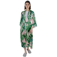 Green Leaves On Pink Maxi Satin Kimono by goljakoff