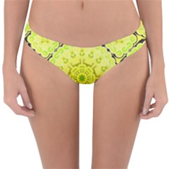 Yellow Floral Print Reversible Hipster Bikini Bottoms by Lotus