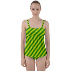 Green Diagonal Lines Twist Front Tankini Set by Lotus
