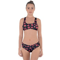 Red Roses Criss Cross Bikini Set by designsbymallika