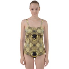 Black And Gold Twist Front Tankini Set by Dazzleway