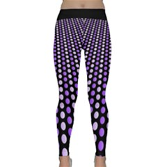Purple And Pink Dots Pattern, Black Background Classic Yoga Leggings by Casemiro