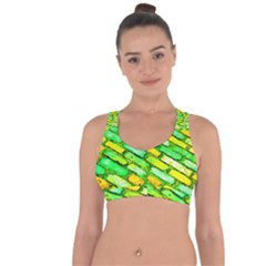Diagonal Street Cobbles Cross String Back Sports Bra by essentialimage