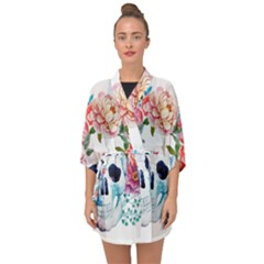 Skull And Flowers Half Sleeve Chiffon Kimono