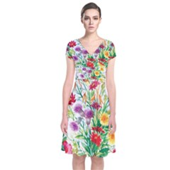 Summer Flowers Short Sleeve Front Wrap Dress by goljakoff