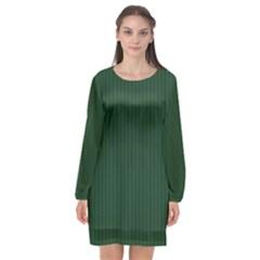 Eden Green & White - Long Sleeve Chiffon Shift Dress  by FashionLane