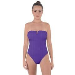 Spanish Violet & White - Tie Back One Piece Swimsuit by FashionLane