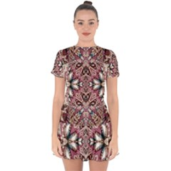 Pink Pattern Drop Hem Mini Chiffon Dress by Dazzleway