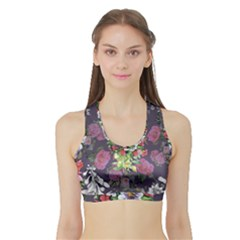 Purple Flowers Sports Bra With Border by goljakoff