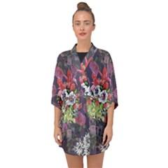 Purple Flowers Half Sleeve Chiffon Kimono
