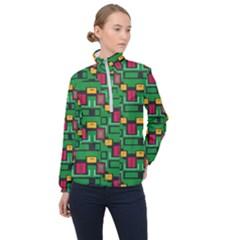 Rectangles On A Green Background                                                        Women Half Zip Windbreaker