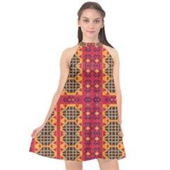 Shapes In Retro Colors2                                                        Halter Neckline Chiffon Dress by LalyLauraFLM