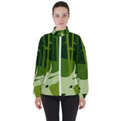 Forest Deer Tree Green Nature Women s High Neck Windbreaker by HermanTelo