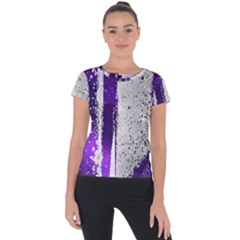 Purple Silver Short Sleeve Sports Top  by Lotus