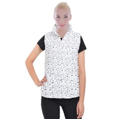 Music Notes Wallpaper Women s Button Up Vest
