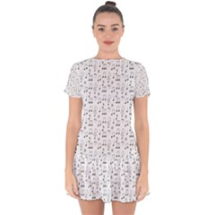 Music Notes Wallpaper Drop Hem Mini Chiffon Dress by Mariart