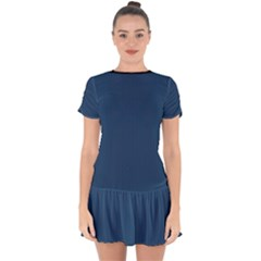 Aegean Blue - Drop Hem Mini Chiffon Dress by FashionLane