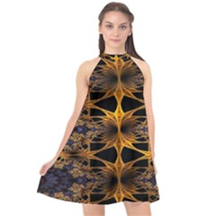 Fractal Flower Halter Neckline Chiffon Dress  by Sparkle