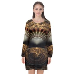 Fractal Illusion Long Sleeve Chiffon Shift Dress  by Sparkle