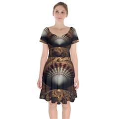 Fractal Illusion Short Sleeve Bardot Dress by Sparkle