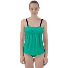 Caribbean Green - Twist Front Tankini Set by FashionLane