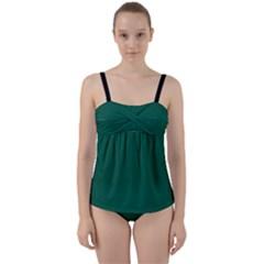 Christmas Green - Twist Front Tankini Set by FashionLane