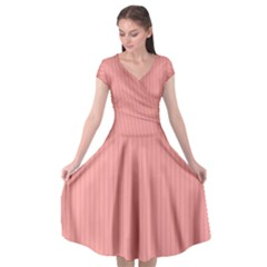 Candlelight Peach - Cap Sleeve Wrap Front Dress by FashionLane
