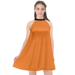 Carrot Orange - Halter Neckline Chiffon Dress  by FashionLane