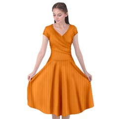 Turmeric Orange - Cap Sleeve Wrap Front Dress by FashionLane