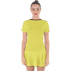 Unmellow Yellow - Drop Hem Mini Chiffon Dress by FashionLane